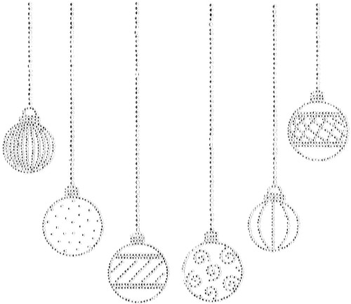 All-Clear Christmas Ornaments Neckline Iron-On Design (S100501-CLR) shown.