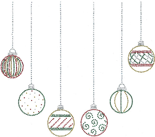 Holiday Colors Christmas Ornaments Neckline Iron-On Design (S100501-REG) shown.