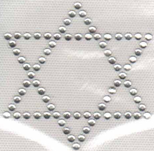 "Clear stone Single ""Star of David"" (Outline) Iron-On Design (S1967-CLR)."