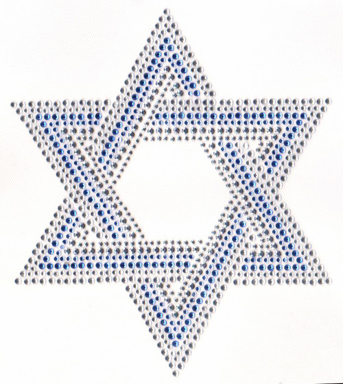 "Large ""Clear"" Star of David Iron-On Design (S5023L-CLR)."