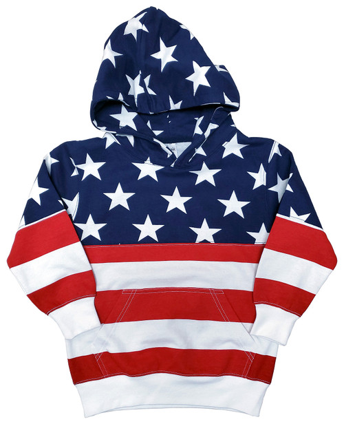 "iKids ""USA Bright-Print"" Unisex Pullover Hoodie (Plain)"