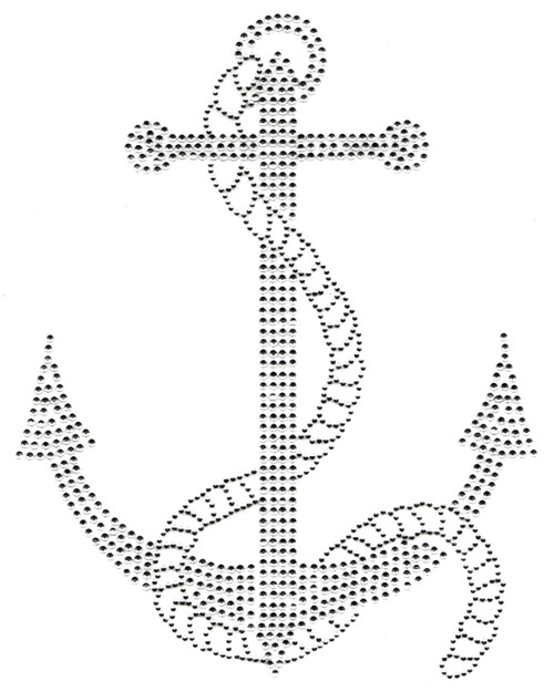 Clear & Silver Large Anchor with Rope Iron-On Design (S100238-CLR).