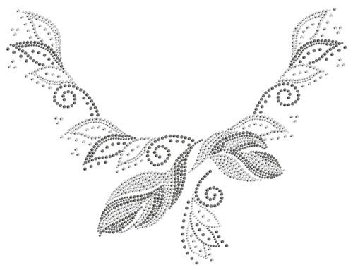 """Delightful Garden Leaves"" Iron-On Design for Scoop-Necklines in Clear version (S1000478-CLR) shown."