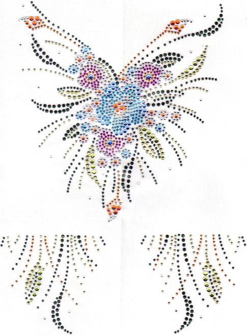 """""""Colorful Floral V-Neckline & Collar Set"""" Iron-On Design (S3266)."""