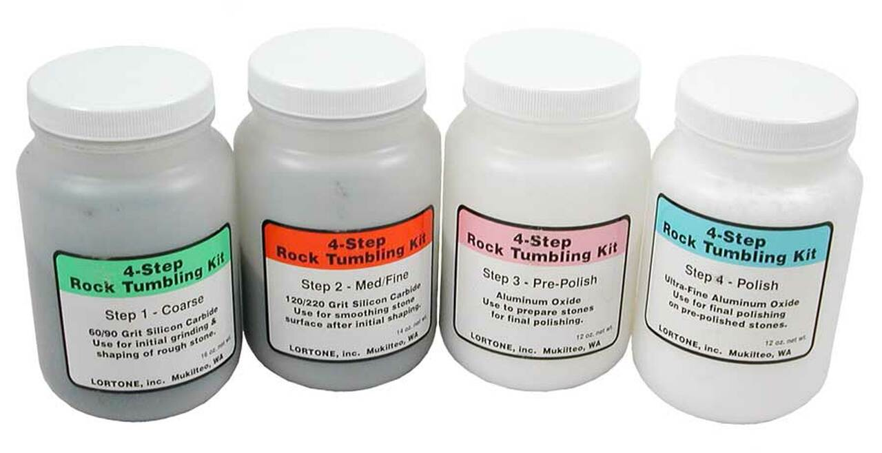 4 Step polishing process Details about  /Rock Tumbling Grit Kit # 6-4 for a 6 lb Tumbler-