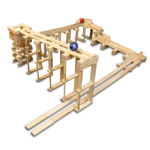 keva ball track structure with plank stacks