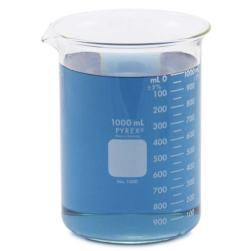 1000 ml pyrex low form glass beaker with blue liquid