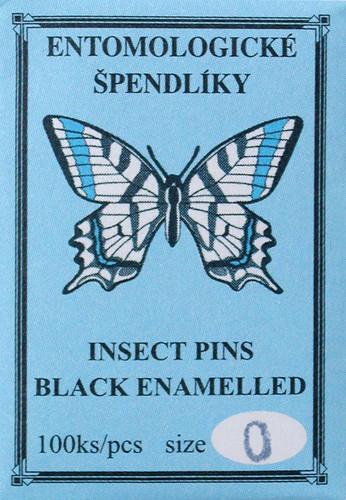 Insect Pins (entomological), size 0, black enamel