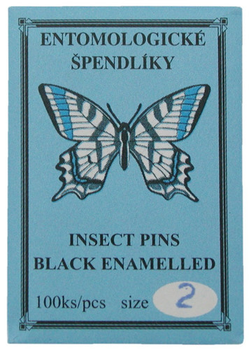 Insect Pins (entomological), size 2, black enamel
