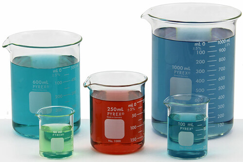pyrex beaker set of 5