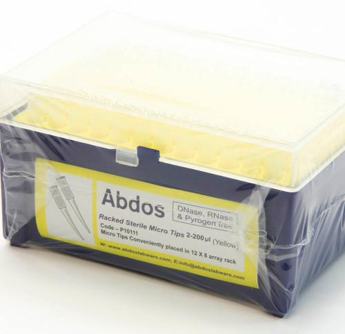 Racked Sterile Micro Tips, 2 - 200 uL, yellow