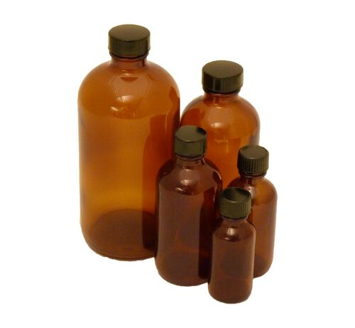 Bottle, 60 ml (2 oz), amber glass, Boston round