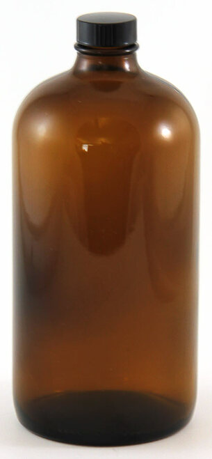 Bottle, 1000mL (32 oz), amber glass, Boston round
