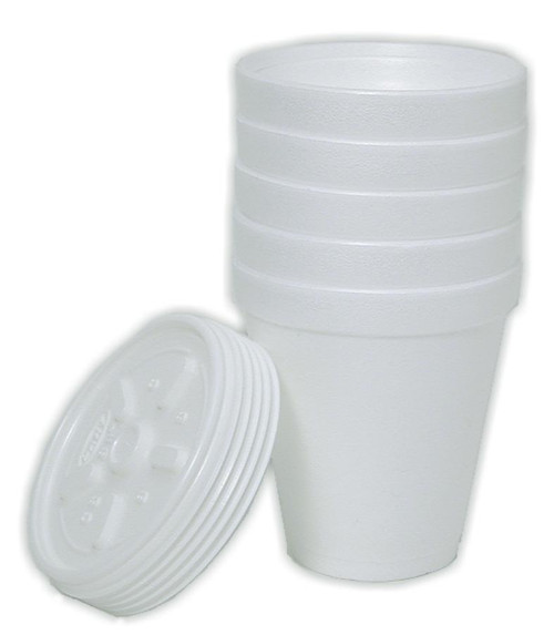 Styrofoam Cups, 8 oz, with lids 5 pack