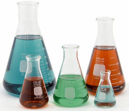 Pyrex Erlenmeyer Flasks, set of 5
