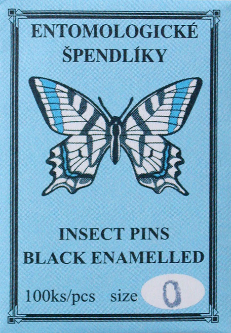 Insect Pins (entomological), size 0, black enamel