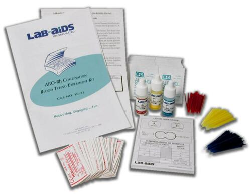 lab aids abo rh blood typing lab kit contents