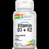 Solaray Soy-Free Vitamin D3+K2 - 60 Veg Caps