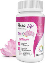 NutraBlast Boric Life Boric Acid Vaginal Suppositories 600 mg - #30
