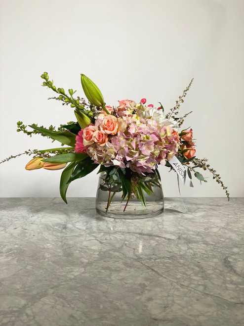Peach, Clear vase,