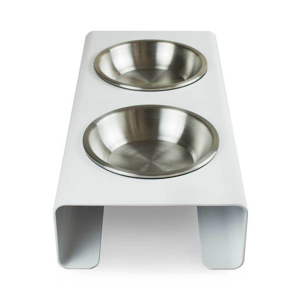 white-metal-aluminum-dog-cat-feeder-stainless-steel-bowl-side-view