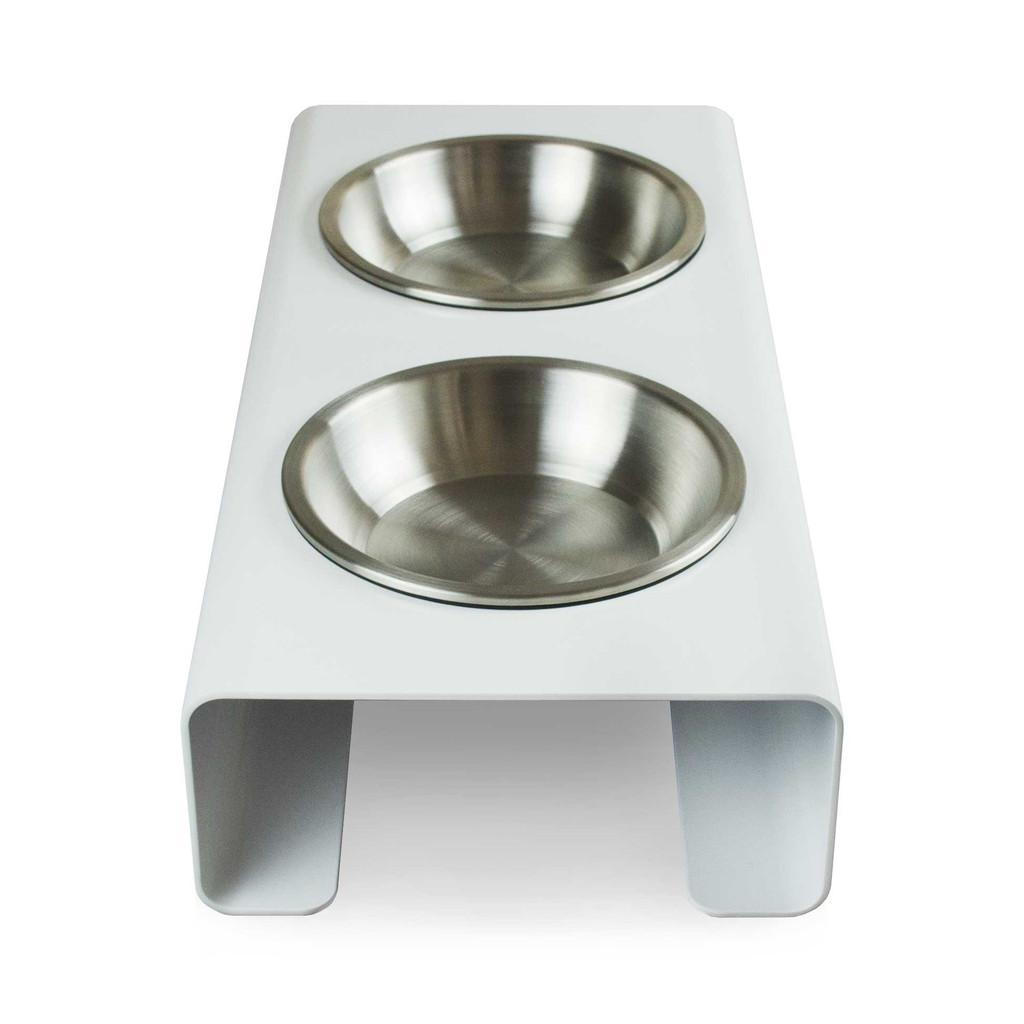 white-steel-raised-dog-feeder-side