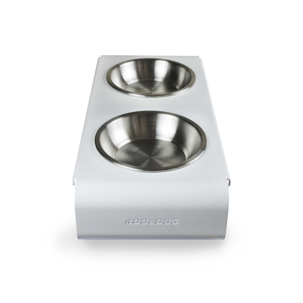 white-steel-raised-dog-feeder-side