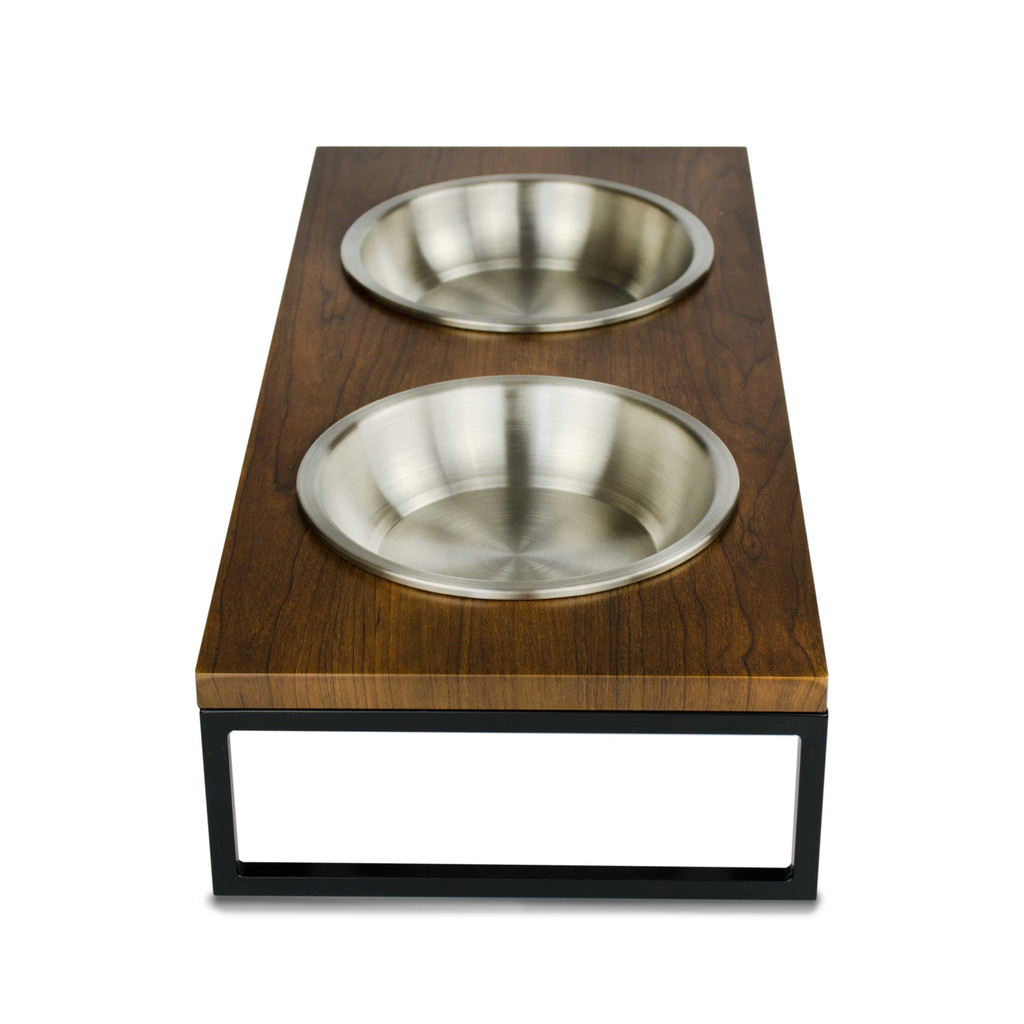 Black-metal-frame-walnut-wood-dog-cat-feeder-stainless-steel-bowl-side-view