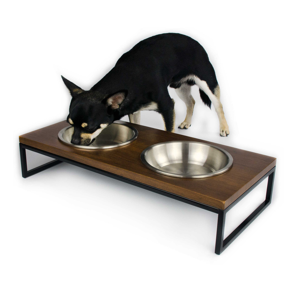 black--metal-frame-walnut-wood-dog-cat-feeder-stainless-steel-bowl-chihuahua