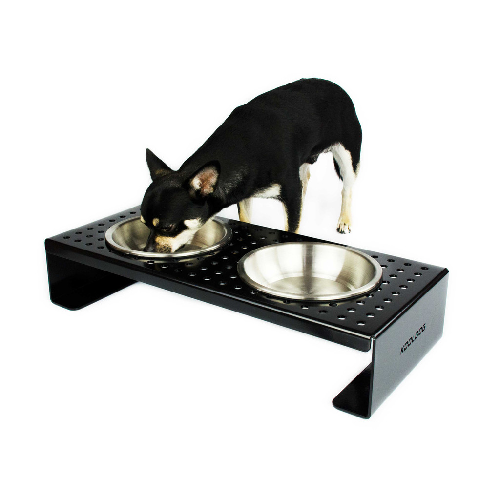 black-metal-aluminum-dog-cat-feeder-stainless-steel-bowl-chihuahua