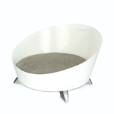 white-round-steel-modern-dog-bed