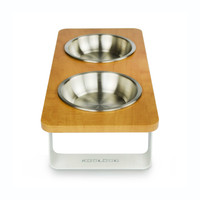 white-metal-aluminum-dog-cat-feeder-stainless-steel-bowl-side view