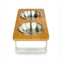 wood-top-white-metal-legs-raised-dog-feeder-side