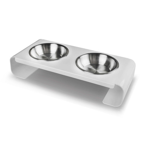 white-metal-aluminum-dog-cat-feeder-stainless-steel-bowl-perspective