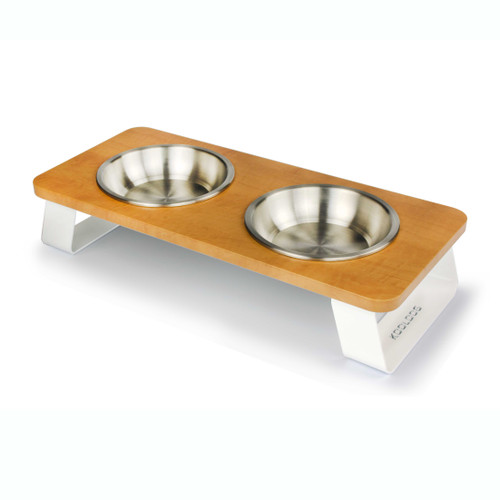 white-metal-aluminum-wood-dog-cat-feeder-stainless-steel-bowl-perspective