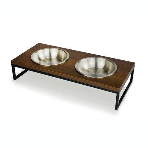 Black-metal-frame-walnut-wood-dog-cat-feeder-stainless-steel-bowl-perspective
