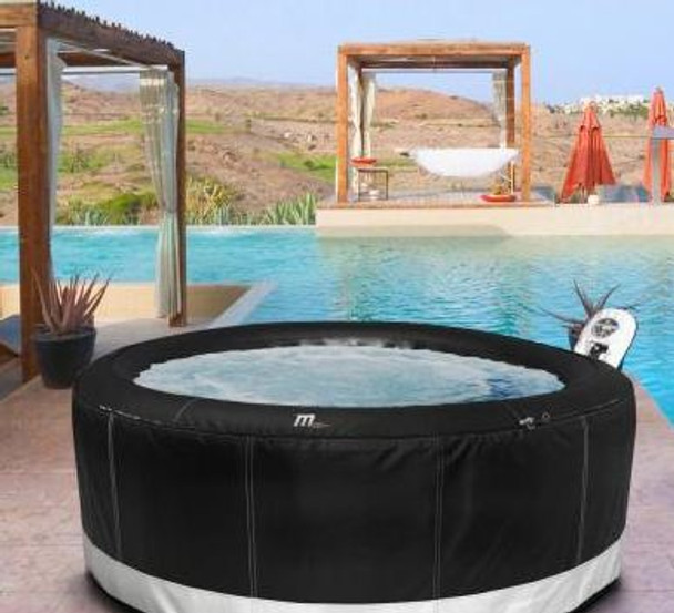 Camaro inflatable hot tub by pool.