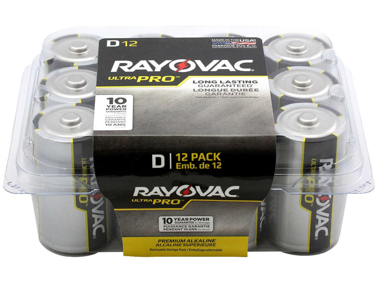 Rayovac Ultra Pro AL-D-12 Alkaline Button Top Batteries - 12 Pack (ALD-12PPJ)