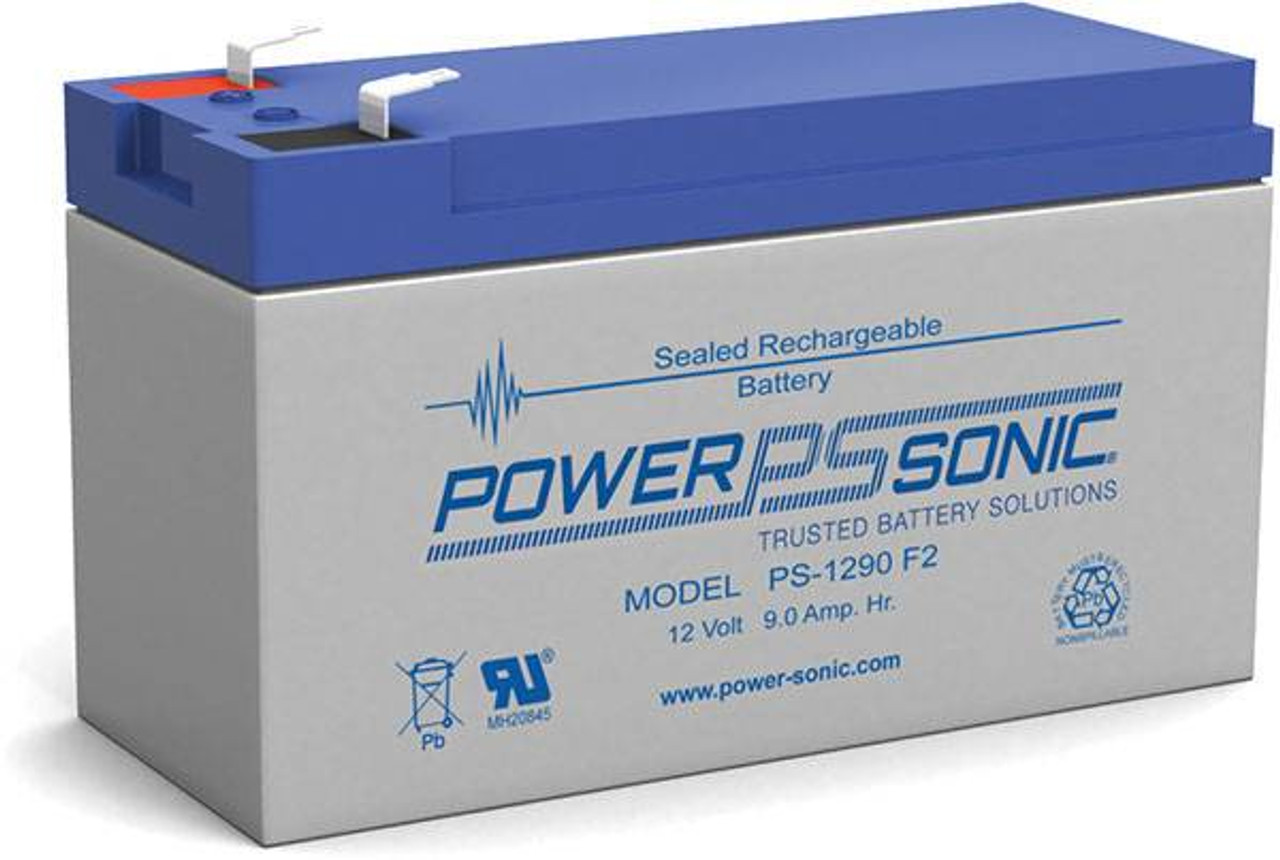 Power-Sonic®  AGM General Purpose PS-1290 9Ah 12V Rechargeable Sealed Lead Acid (SLA) Battery - F2 Terminal
