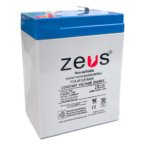 PC6-6F2 6V 6Ah Zeus SLA Battery