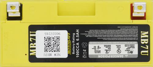 MB7U MotoBatt Sealed AGM QuadFlex Battery 12V 6.5AH
