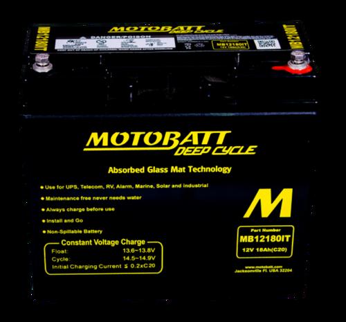 MB12180IT Motobatt 12V 18AH AGM Battery Deep Cycle