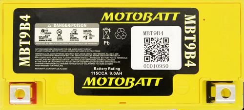 MotoBatt MBT9B4 115CCA Upgrade for YT9B-BS & GT9B-4