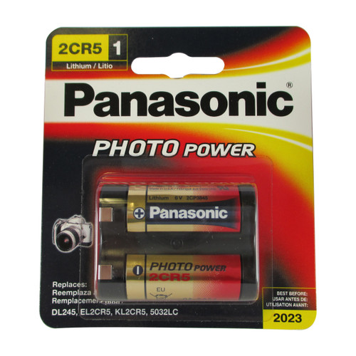 Panasonic 2CR5 Battery - 6 Volt 1400mAh Lithium (Carded)