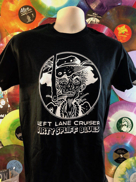 LEFT LANE CRUISER - Dirty Spliff Blues- design by BILL STOUT!   BLACK T SHIRT