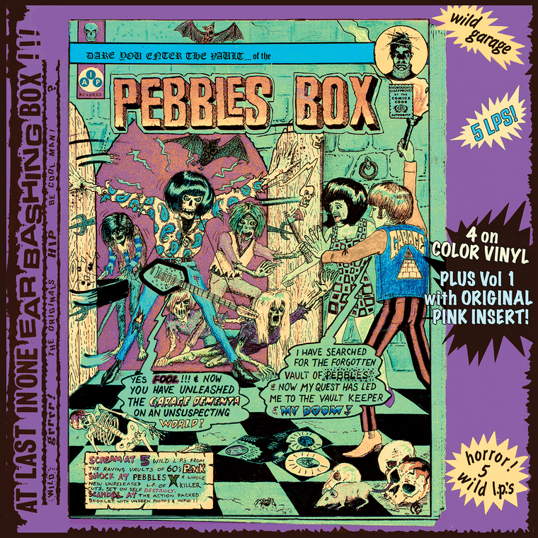 PEBBLES  Vol 1-5  BOX SET-  NEW! - 4 on clear COLOR VINYL, VOL 1 WITH PINK INSERT