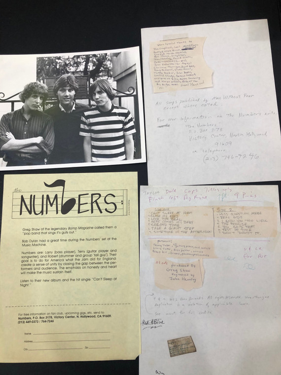 NUMBERS - Anthology '64-'67 1983 ORIG PRESSING) with ORIGINAL BOMP FILE FOLDER press release, photo, and 2 pages of NOTES.   LP