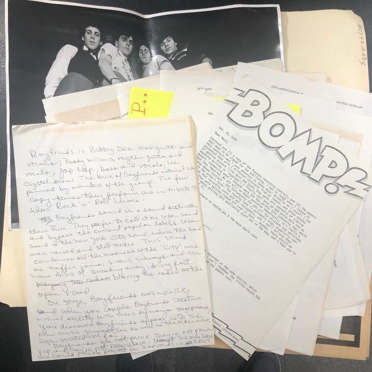 BOYFRIENDS   - ORIGINAL BOMP FILES and PRESS KIT 1978!!