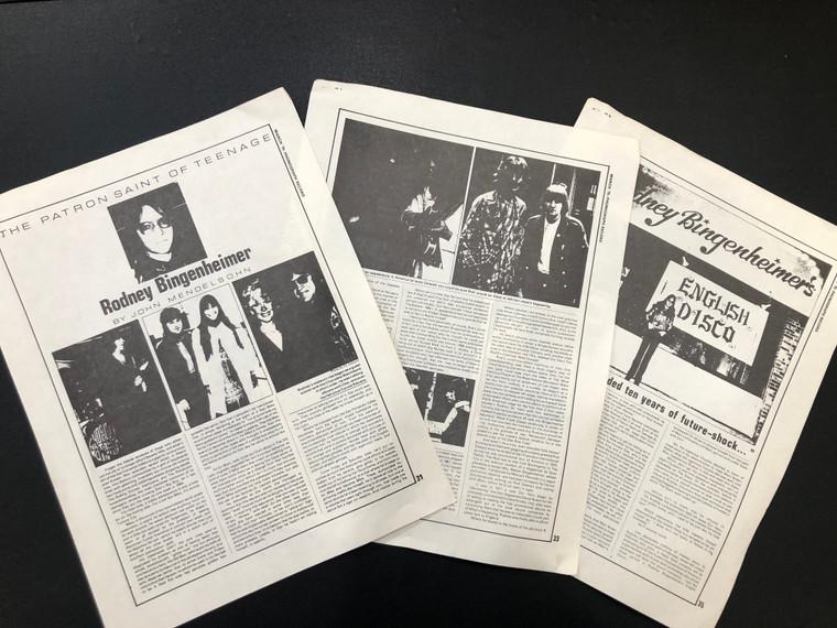 RODNEY BINGENHEIMER- Patron Saint of Teenage - March 75 Phonograph Record Magazine article  BOOKS & MAGS