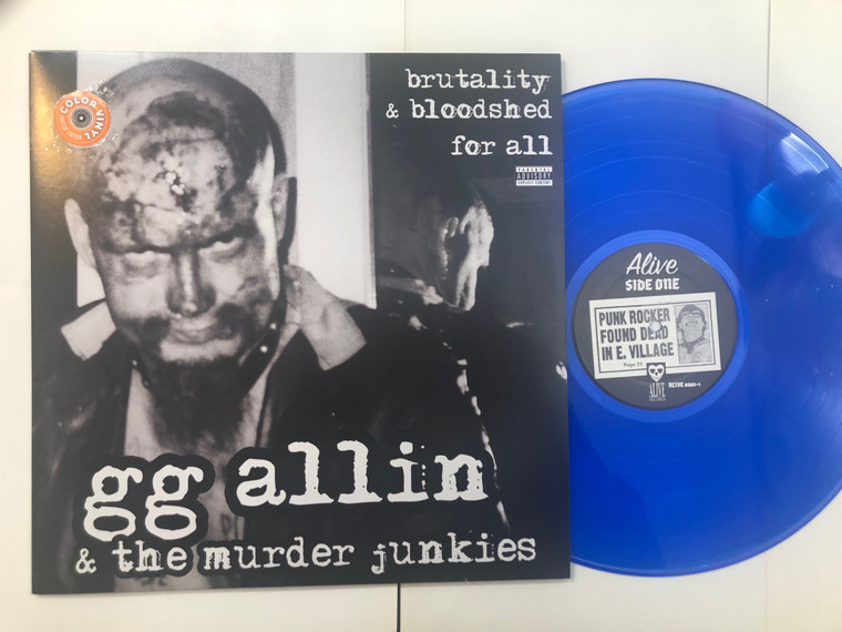 ALLIN , GG and The Murder Junkies  - Brutality & Bloodshed For All- NEW COVER! LTD ED BLUE VINYL    LP